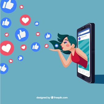 Facebook background with heart and like icon