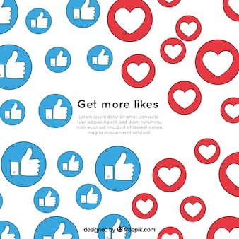 Facebook background with heart and like icons