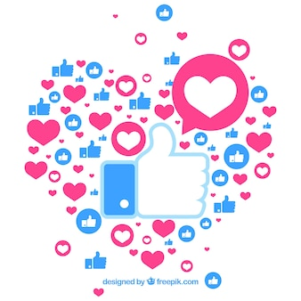 Facebook background with hearts and likes
