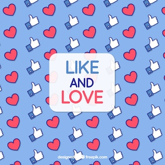 Facebook background with like and heart icons