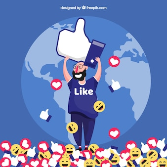 Facebook background with like icon