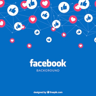 Facebook background with likes and hearts