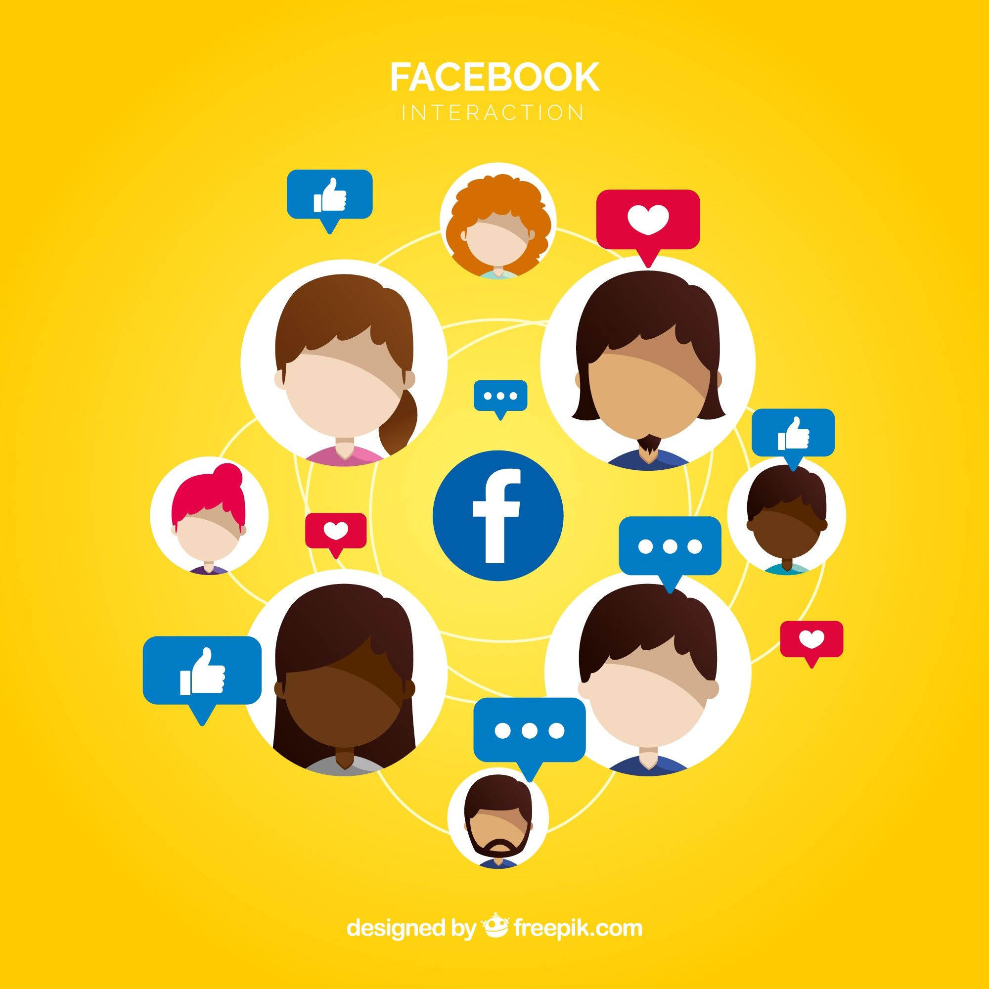 Facebook background with many likes and faces