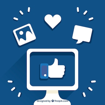 Facebook background with thumb up inside of a screen