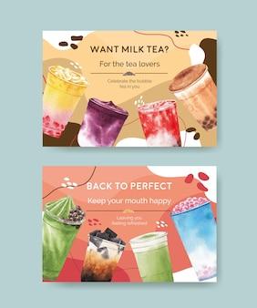 Шаблон баннера facebook с пузырьковым молочным чаем