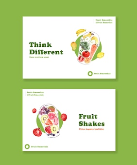 Modello di banner di facebook con il concetto di frullati di frutta Vettore gratuito
