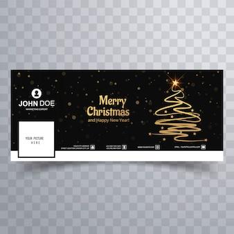 Красивый веселый шаблон рождественской елки facebook banner