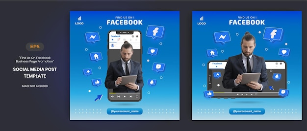 Facebook business page promotion with 3d vector for social media post