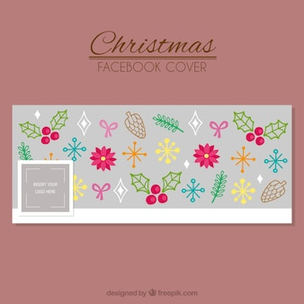 Facebook cover of christmas natural elements