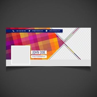 Facebook cover colorful in flat design