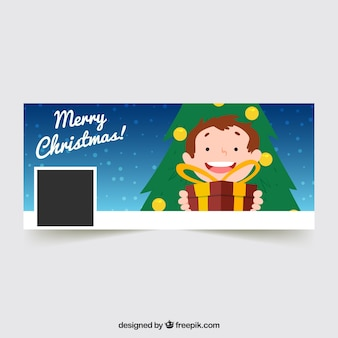Facebook cover of kid with gift