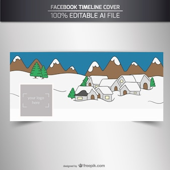 Facebook cover with a snowy village