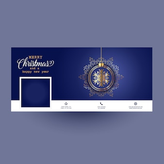 Facebook cover with christmas bauble design