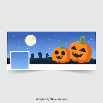 Facebook cover with cute halloween pumpkins