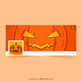 Facebook cover with hand drawn pumpkin