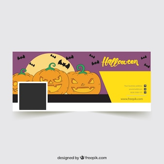 Facebook cover with hand drawn pumpkins