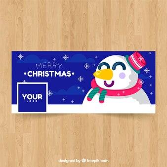 Copertura di facebook con felice pupazzo di neve