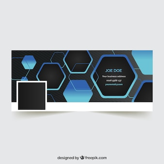 Facebook cover with hexagons
