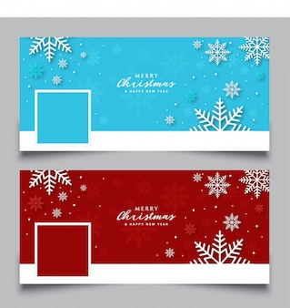 Facebook cover with snowflake template