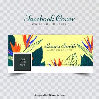 Copertura di facebook con fiori tropicali
