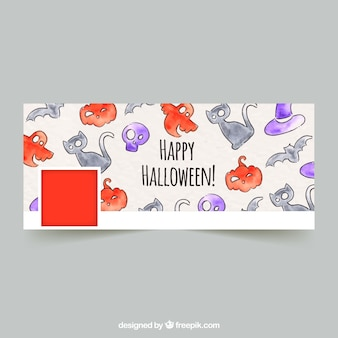 Facebook cover with watercolor drawings of halloween