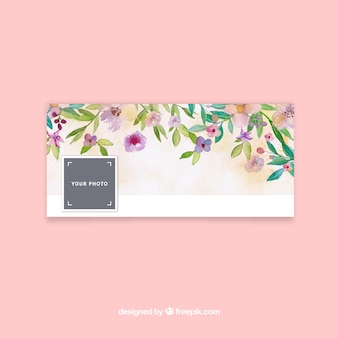 Facebook cover with watercolor flowers Premium Vector