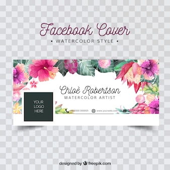 Facebook cover with watercolor flowers