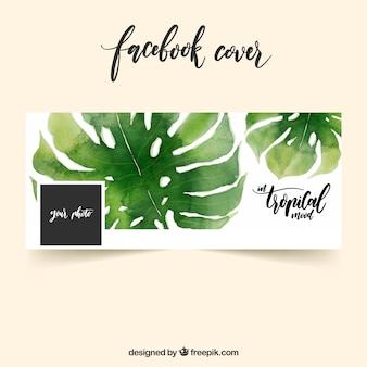Facebook обложка с акварельными листьями