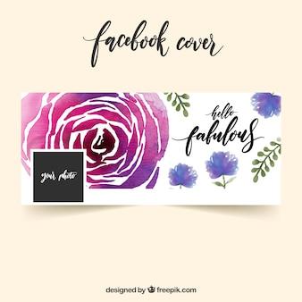 Copertina di facebook con rosa di acquerello
