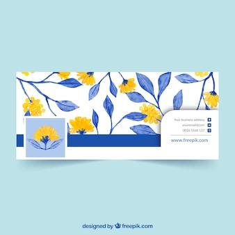 Обложка facebook с желтыми цветами и синими листьями акварели