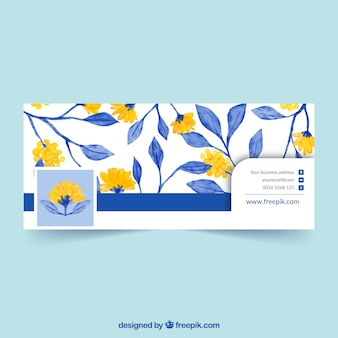 Facebook cover with yellow flowers and blue watercolor leaves Premium Vector