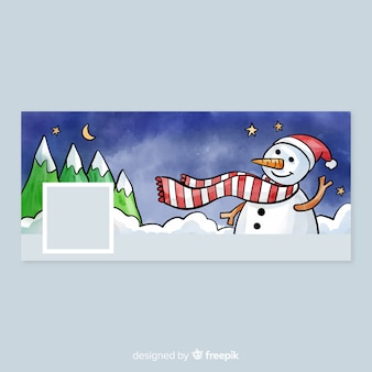 Акварельный дизайн рождественского дизайна facebook cover