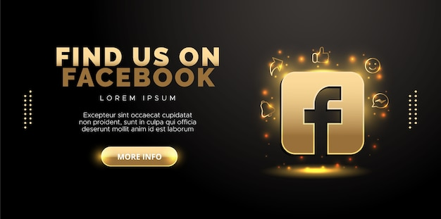 Facebook design in gold on black background