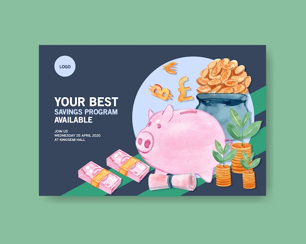 Facebook design template with piggy bank with coins watercolor hand drawn illustration