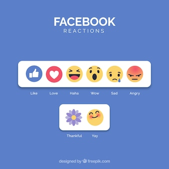 Facebook emoji collection with flat design
