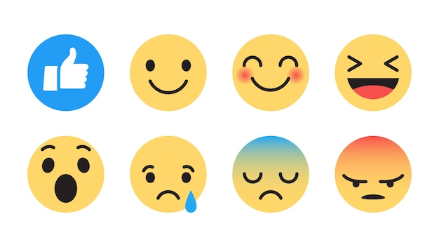 Facebook emoji modern flat icons set
