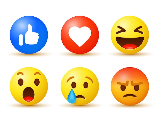 Facebook emoji reactions with notification icons like love modern buttons
