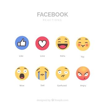 Коллекция facebook emoji с плоским дизайном