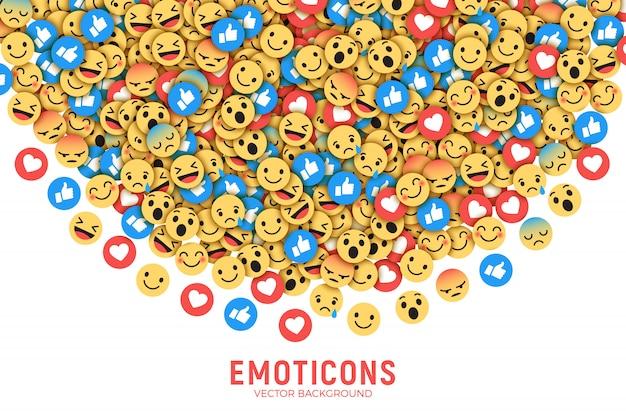 Плоский современный facebook emoji фон