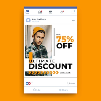 Facebook fashion sale template with photo