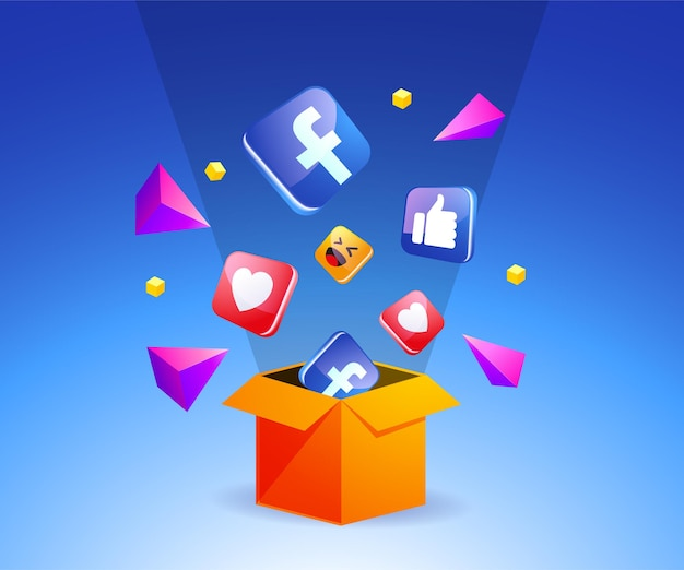 상자 소셜 미디어 개념에서 벗어난 페이스북 아이콘