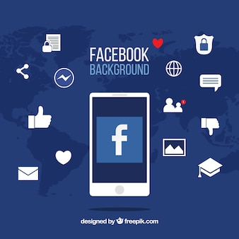 Facebook icons background with flat design