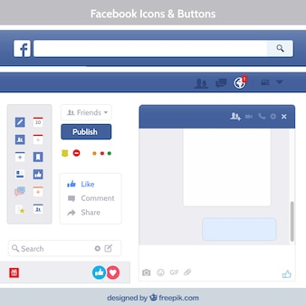 Facebook icons and buttons Premium Vector