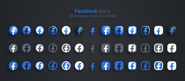 Facebook icons set modern 3d and flat in different variations