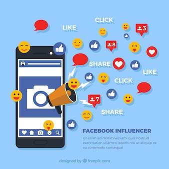 Facebook влиятельный фон с репутацией и смайликами