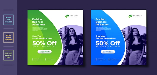 Facebook instagram social media cover ad banner design template