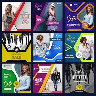 디지털 마케팅을위한 페이스 북 인스 타 그램 소셜 미디어 게시물