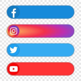 Набор популярных логотипов социальных сетей - facebook, instagram, twitter, youtube