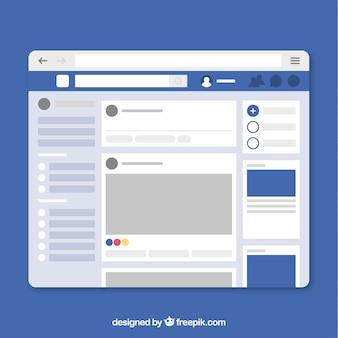 Interfaccia di facebook in stile minimalista