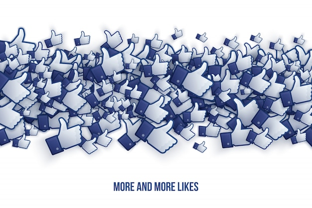 Facebook like hand conceptual abstract illustration